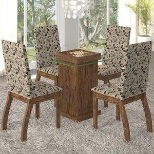 Conjunto para Sala de Jantar Mesa e 4 Cadeiras Lola Viero Avelã/Medina