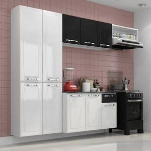 Cozinha Compacta Amanda Itatiaia Branco/Preto