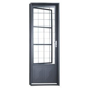Porta de Aço com Postigo Grade Quadriculada Minas Sul MGM 217cmx85cm Primer