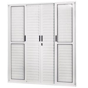 Porta de Correr Alumínio 6 Folhas com Vidro Liso Sólida MGM 210cmx180cm Branco