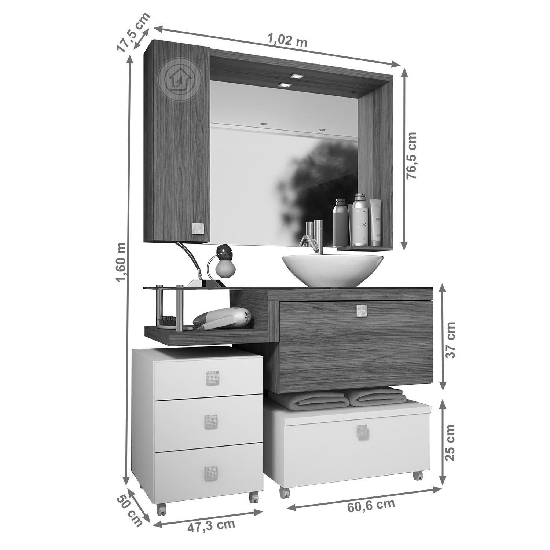 Gabinete Para Banheiro Com Espelheira Vicenza Celta Móveis R$ 1.569  #393939 1500 1500